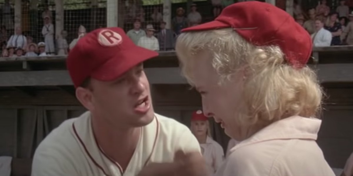 Tom Hanks and Bitty Schram in A League of Their Own