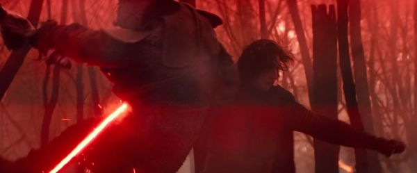 Kylo Ren attacking one of the Knights of Ren