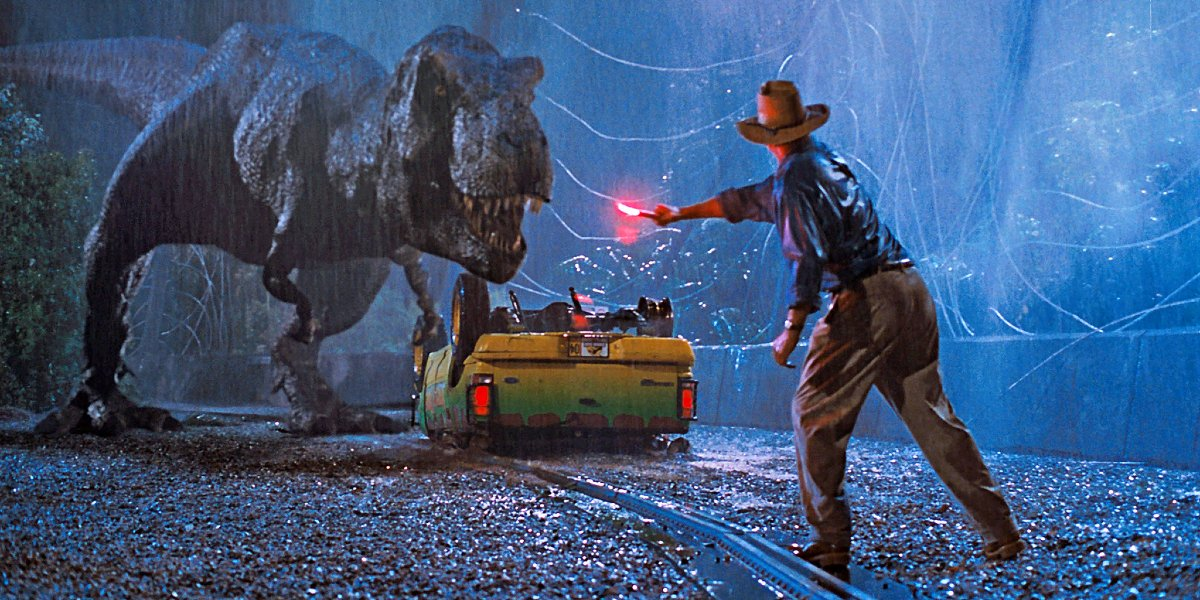 Jurassic Park Roberta being lured by Dr. Grant's flare