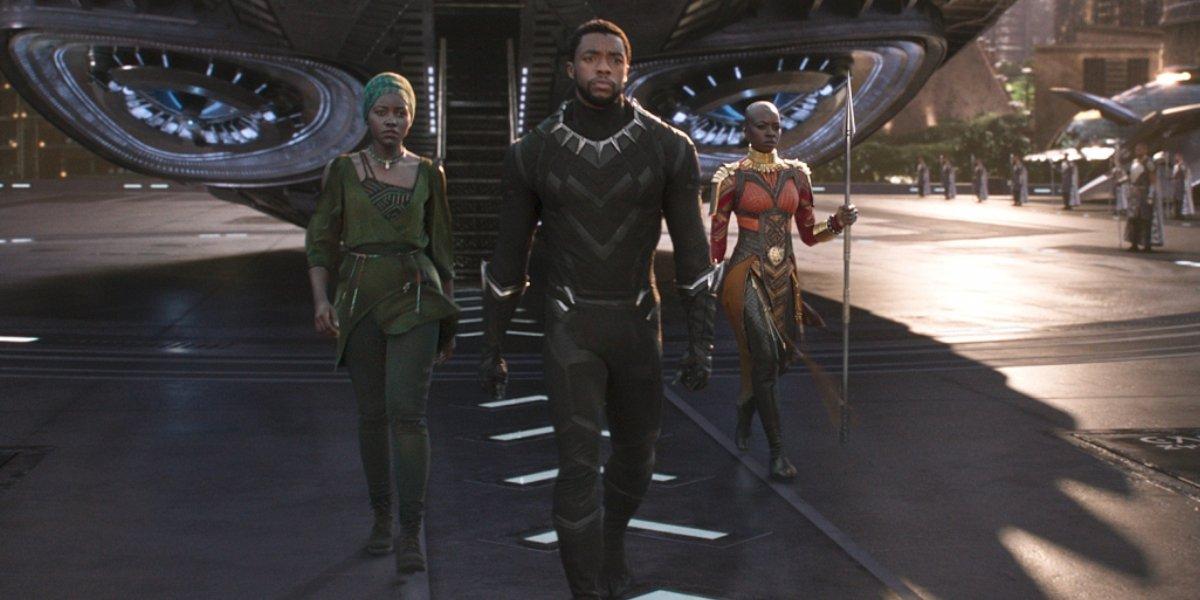 Lupita Nyong'o, Chadwikc Boseman, and Danai Gurira in Black Panther