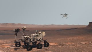 3D rendering of the Perseverance rover and Ingenuity helicopter explore Mars against the backdrop of a real Martian landscape