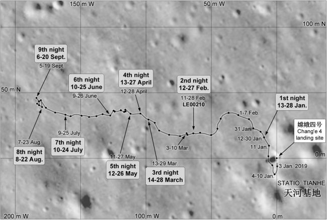 Yutu 2 roving route for lunar days one to nine of the Chang'e 4 mission.