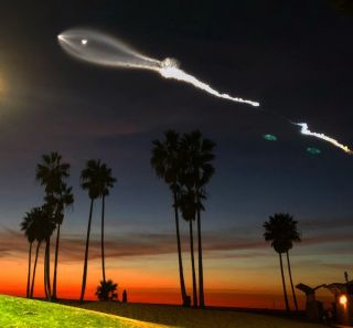 SpaceX launched its Falcon 9 rocket from Vandenberg Air Force Base in California on Dec. 22, 2017, with bystanders on the ground getting a gorgeous light show.