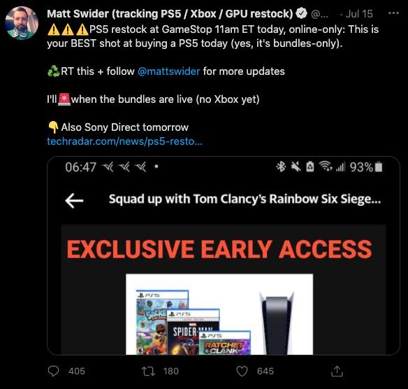 PS5 restock Twitter GameStop