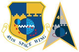 The emblems for the former 45th Space Wing (at left) and Space Launch Delta 45. The 45th Space Wing supported nearly 800 military and civil space launches from Florida's Eastern Range between Nov. 12, 1991 and May 11, 2021.