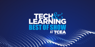 Logo: Tech&Learning Best of Show at TCEA on blue and white field.