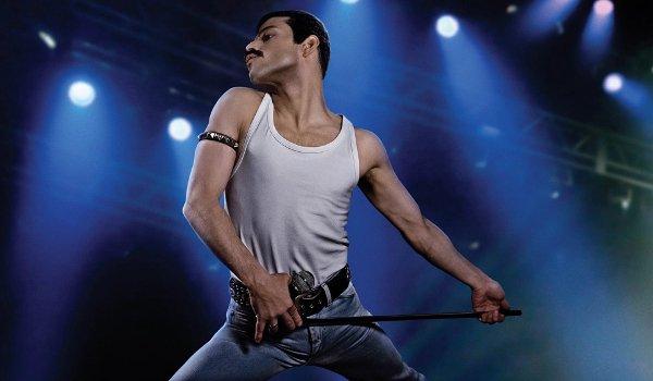 Bohemian Rhapsody Rami Malek Freddie Mercury in mid strut