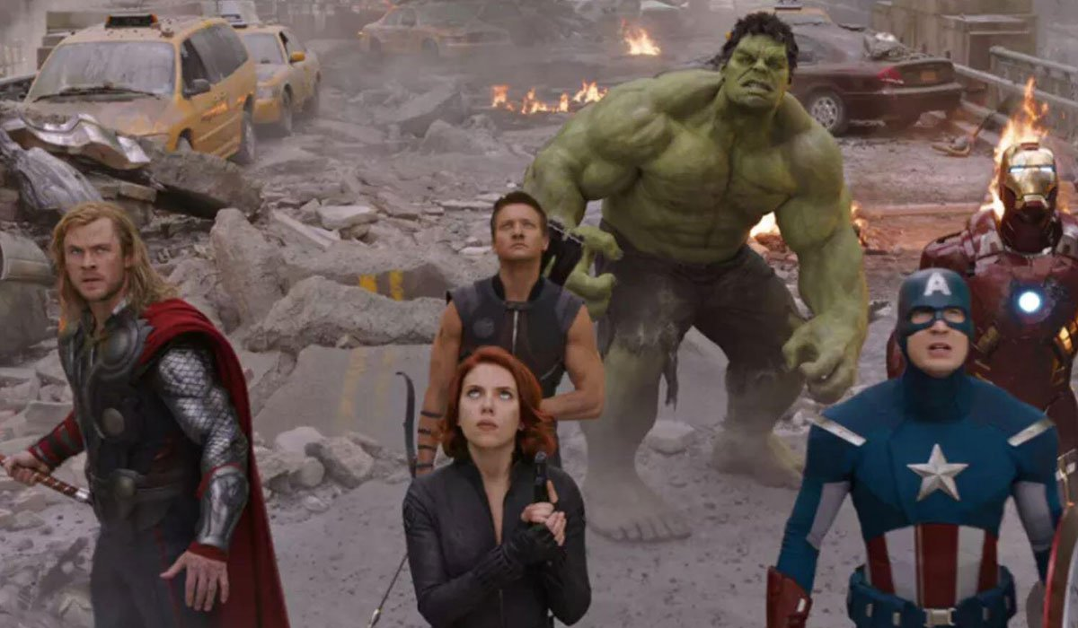 The Avengers coming together in Avengers 1.
