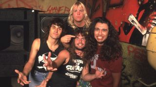 Slayer in a graffiti-covered practice room