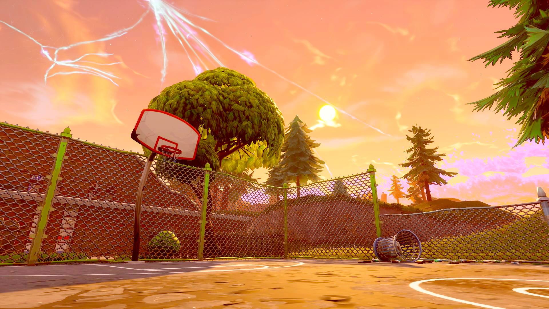 where are the fortnite basketball courts for the score a basket on