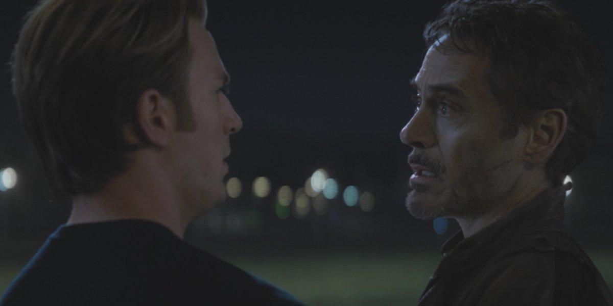 Chris Evans and Robert Downey Jr. in Avengers: Endgame