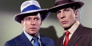 William Shatner and Leonard Nimoy dressed as gangsters in Star Trek.