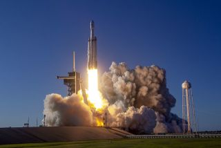 The SpaceX Falcon Heavy rocket made its first commercial launch on April 11, 2019.