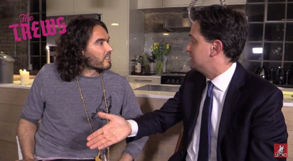 Russell Brand interviews Ed Miliband for his YouTube channel