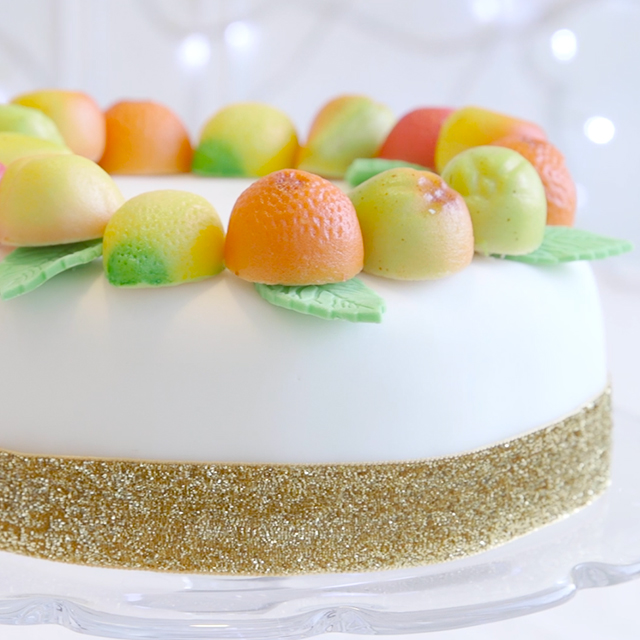 Marzipan fruit Christmas cake