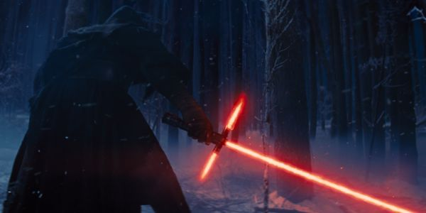 Kylo Ren with lightsaber in Star Wars: The Force Awakens