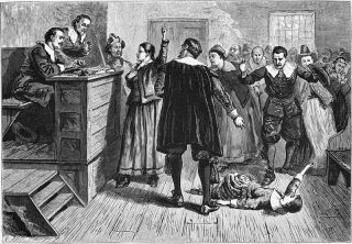 An engraving depicting a scene from the Salem Witch Trials. The central figure in this 1876 illustration of the courtroom is usually identified as Mary Walcott, 17, one of several girls in Salem with a psychological disorder known as mass hysteria, and wh