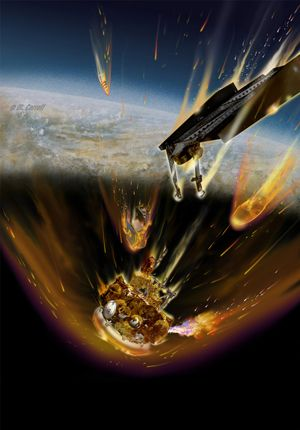 This artist's concept shows fuel from Russia's failed Mars probe Phobos-Grunt burning from a ruptured fuel tank as the spacecraft re-enters the atmosphere. CREDIT: Michael Carroll