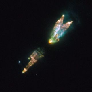 This image from the Hubble Space Telescope shows the Westbrook Nebula. The strange bundle of jets and clouds results from a burst of activity late in the life of a star. As its core runs out of nuclear fuel, the star's outer layers puff out toxic gases li