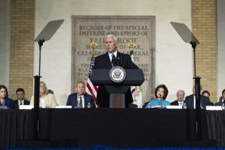 Vice President Mike Pence speaks before the National Space Council at the National Defense University in Washington D.C. on Oct. 23, 2018.