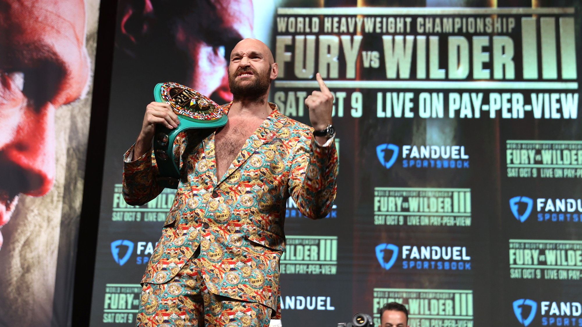 Tyson Fury at a press conference prior to his 2021 fight with Deontay Wilder