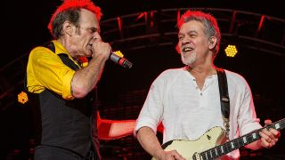David Lee Roth onstage with Eddie Van Halen in 2015