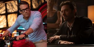 Ryan Reynolds in Free Guy and Thandiwe Newton with Hugh Jackman in Reminiscence, side by side