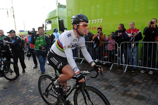 Mark Cavendish rides to podium, Tour of Britain 2012, stage four