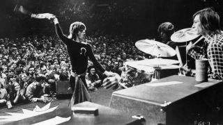 The Rolling Stones' Mick Jagger, Mick Taylor and Charlie Watts on stage in the early 70s