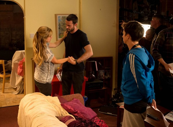 Sean Ward and Tina O'Brien rehearse the fight scenes for the Corrie live episode