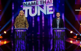 "Contestants Melissa and Devin in the ""Episode 2"" episode of Name That Tune"
