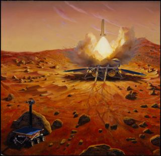 An artist's depiction of a Mars sample-return mission.