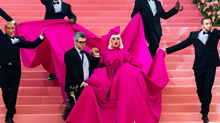 Fashion designer Brandon Maxwell and singer-songwriter and actress Lady Gaga are seen arriving to the 2019 Met Gala Celebrating Camp: Notes on Fashion at The Metropolitan Museum of Art on May 6, 2019 in New York City.