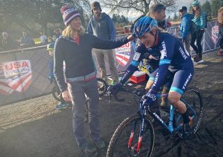 Katie Compton finished third at US cyclo-cross nationals, the first time in 15 years she didn't take the title