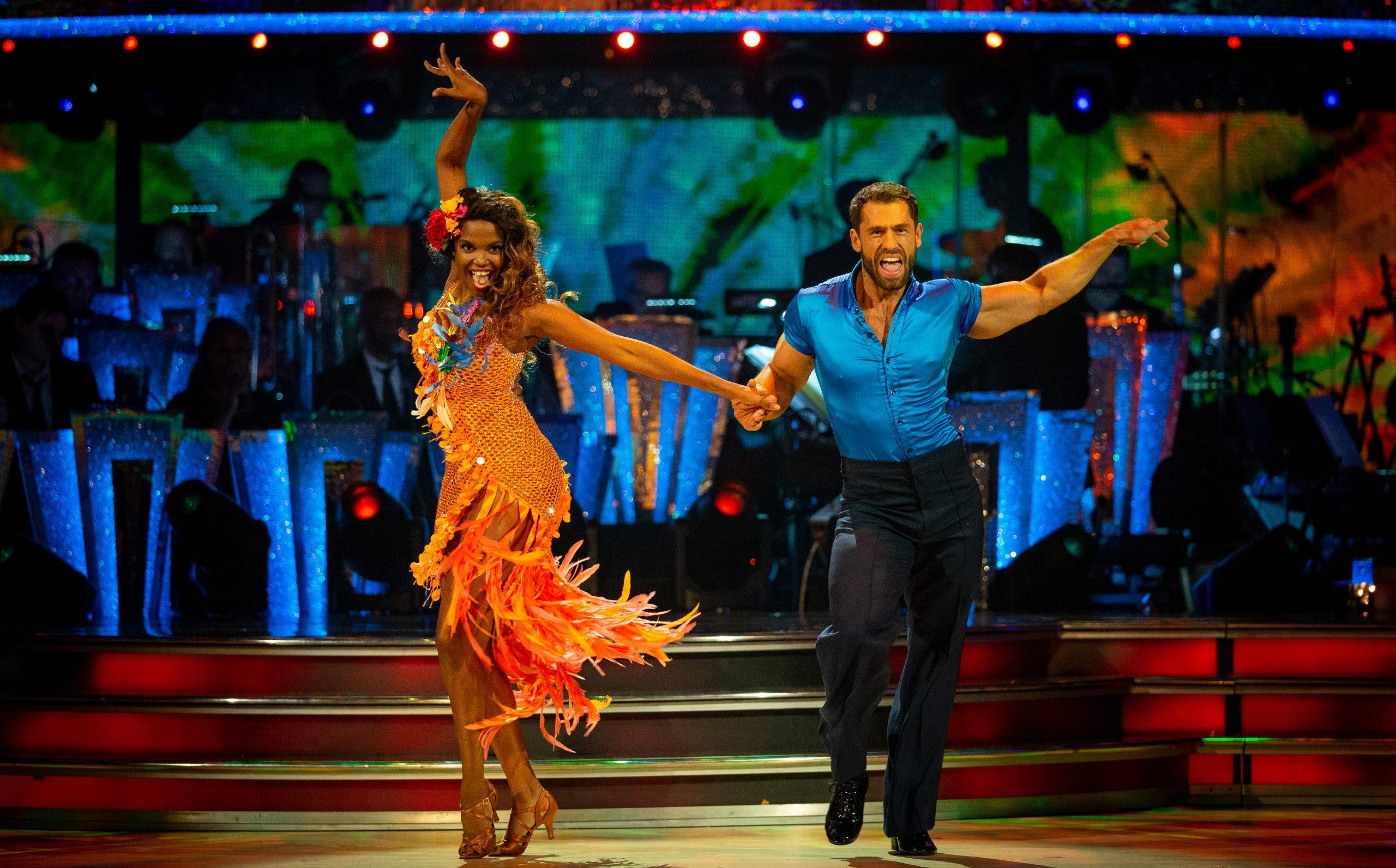 Kelvin Fletcher and partner Oti Mabuse dancing the samba on Strictly