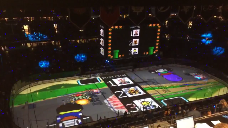 Who needs a TV for Mario Kart when you have a 200ft ice rink?