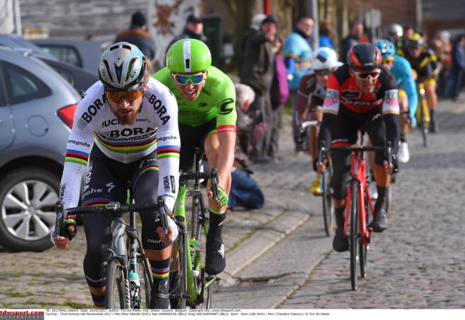 Peter Sagan (Bora-Hansgrohe) leads Vanmarcke and Van Avermaet