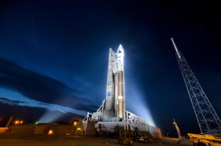 Photo of Atlas 5 rocket carrying NASA's Radiation Belt Storm Probes on launch pad.