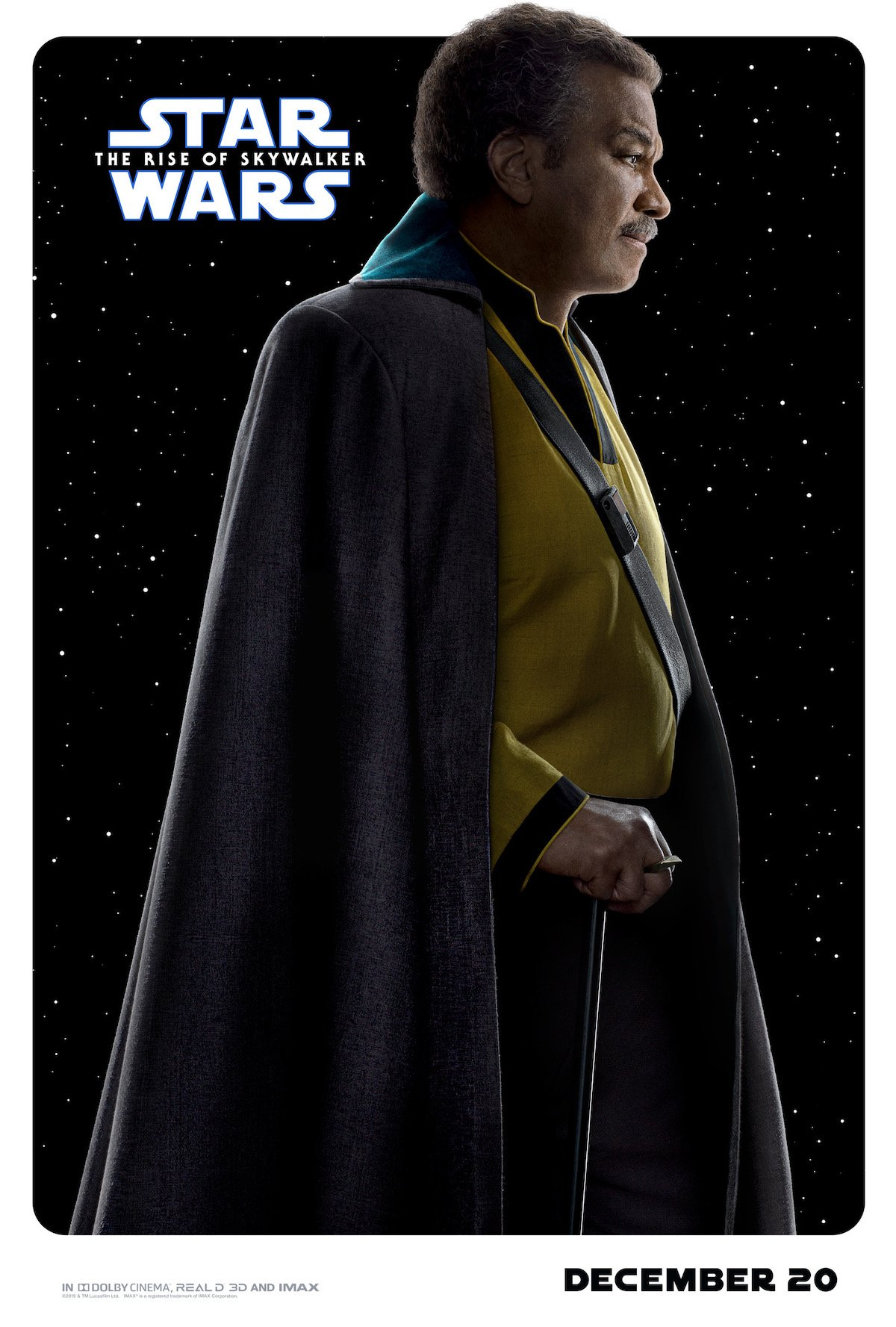 Billy Dee Williams as Lando in Star Wars: Rise of Skywalker, character poster