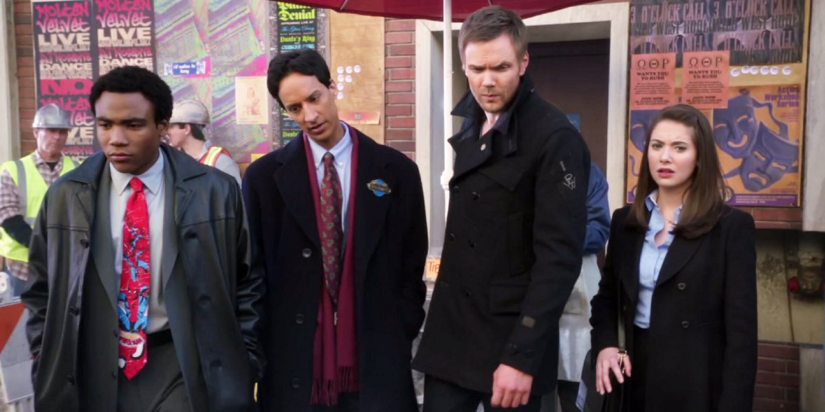 Donald Glover, Danny Pudi, Joel McHale, and Alison Brie in Community