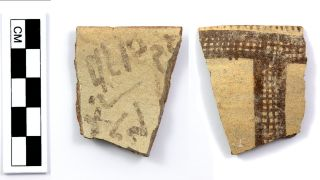 """This inscription, written on a jar fragment, contains what may be a """"missing link"""" in the history of alphabetic writing. It was recently discovered beside an ancient fortification at the site of Tel Lachish in Israel."""