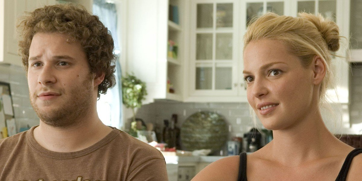 Seth Rogen on the left, Katherine Heigl on the right