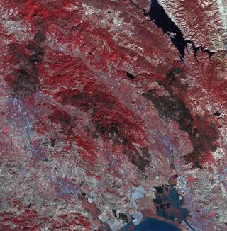 California Wildfire Damage from Space
