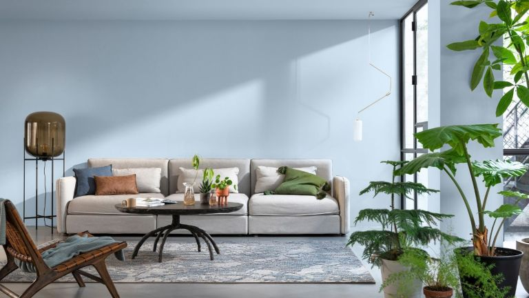 Dulux colour of the year Blue Skies in living room with grey sofa, plants, rug