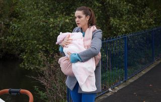 Sienna Blake tries to run away from Joel Dexter and Maggie Kinsella in Hollyoaks