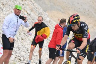 Belgian Wout Van Aert of Team JumboVisma pictured in action during the second passage on the Mont Ventoux mountain during stage 11 of the 108th edition of the Tour de France