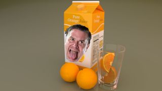 A picture of Mike Patton and an orange juice carton