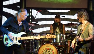 (from left) Billy Sheehan, Mike Portnoy and Richie Kotzen of The Winery Dogs perform at The Culture Room on May 14, 2014 in Fort Lauderdale, Florida