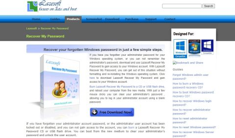 Lazesoft Recover My Password's homepage