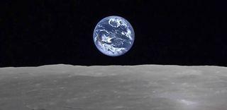 Earthrise from moon, JAXA